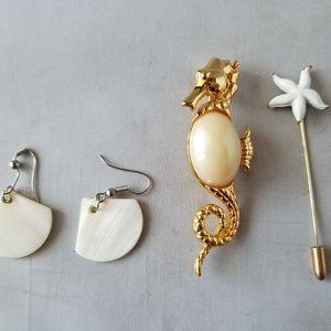 Fashion Jewelry Set Beach Theme Seahorse Shell